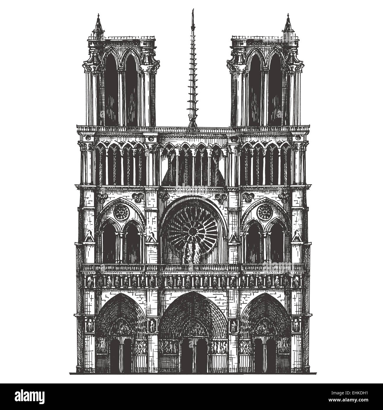 France, Paris, the architecture on a white background. sketch - Stock Image