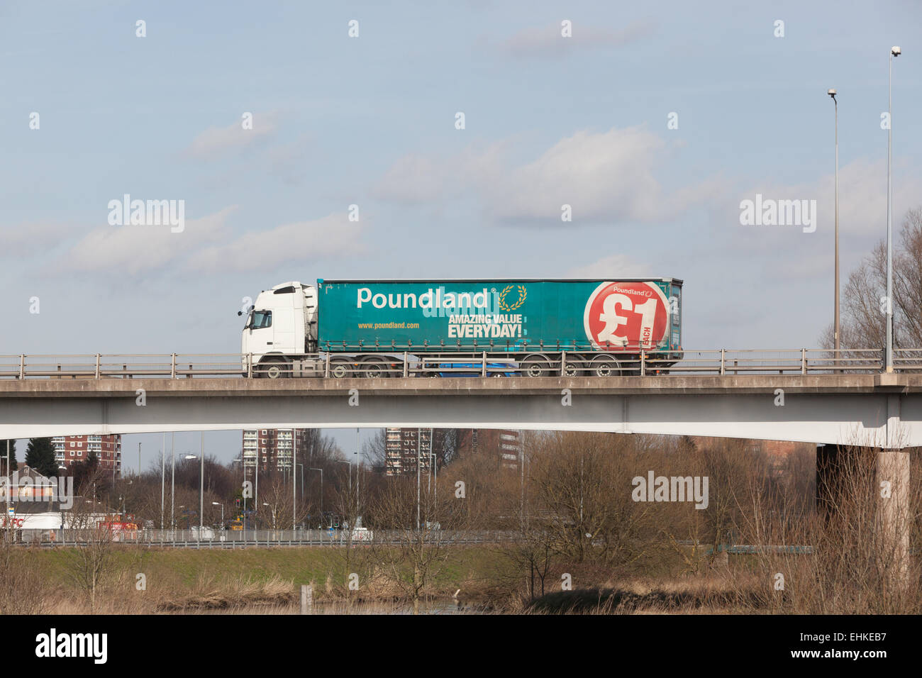 A Poundland truck travelling through the Midlands in the UK. - Stock Image