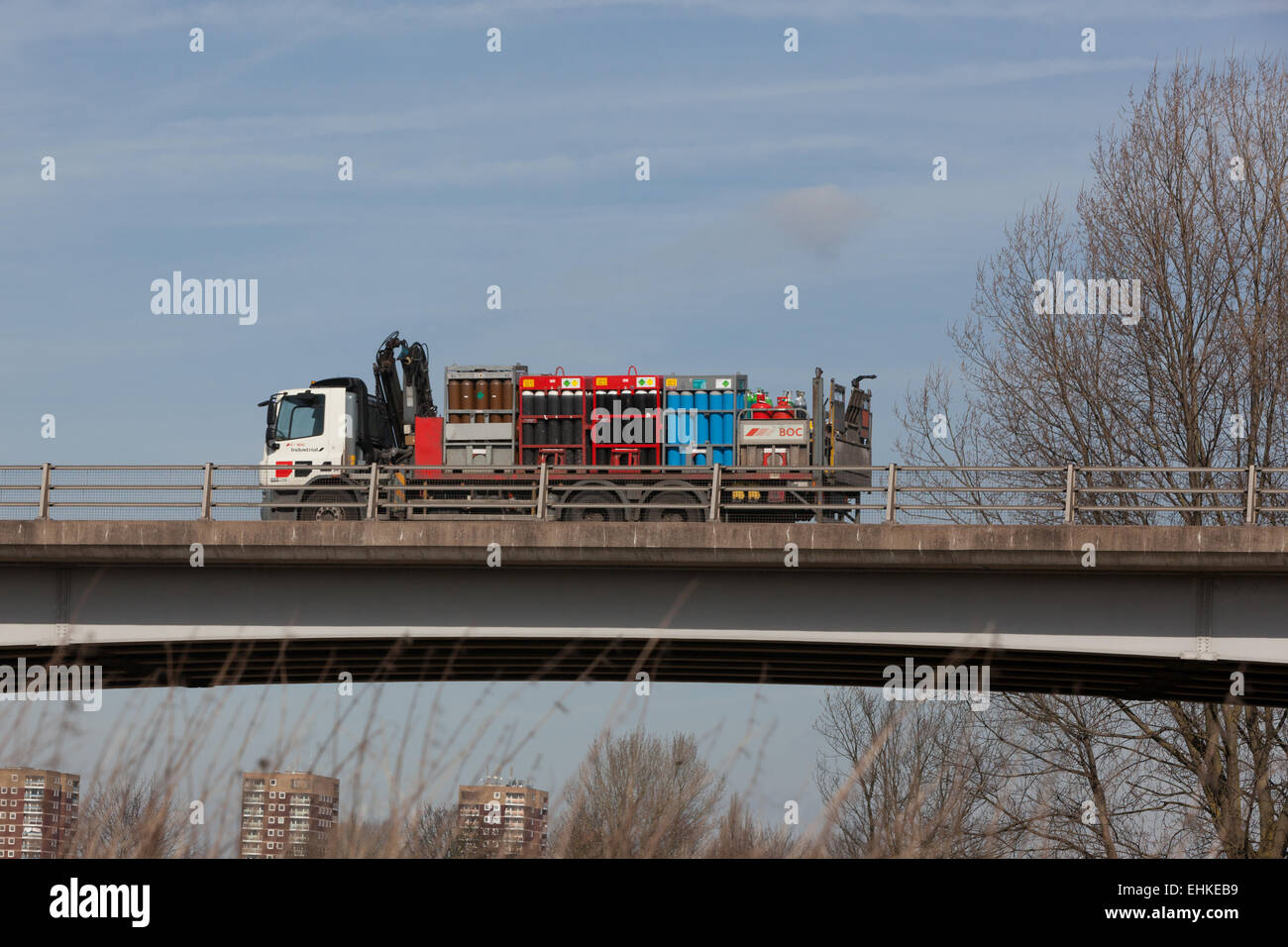 A BOC truck travelling through the Midlands in the UK. Laden with industrial gases. - Stock Image