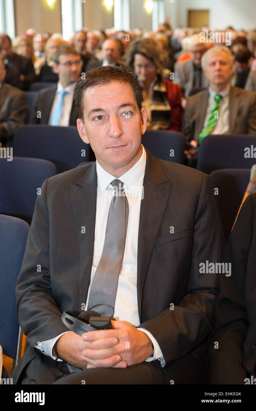 Homburg, Germany. 15th Mar, 2015. The US investigative journalist Gleen Greenwald sits during the awarding ceremony Stock Photo