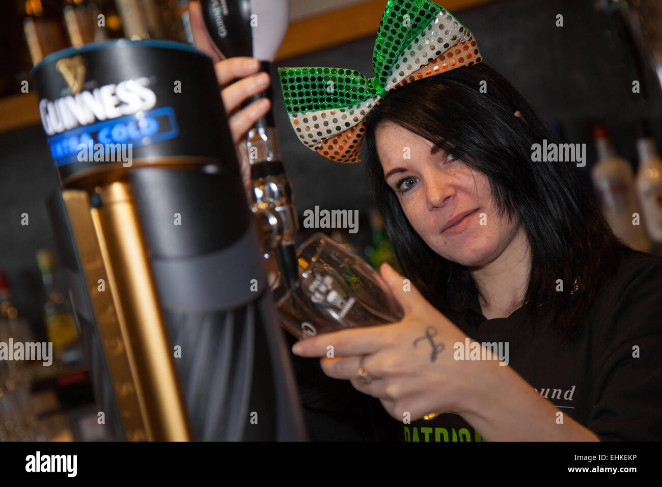 Manchester, UK 15th March, 2015.  Lisa Purcell at the St Patrick's weekend Irish Festival.  Thousands of people - Stock Image
