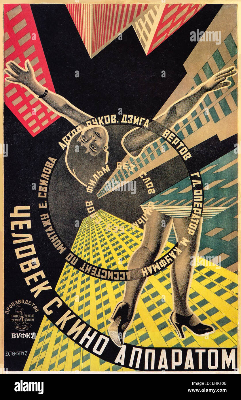 'Man with a Movie Camera' poster for silent documentary film by director Dziga Vertov. Soviet director Dziga - Stock Image