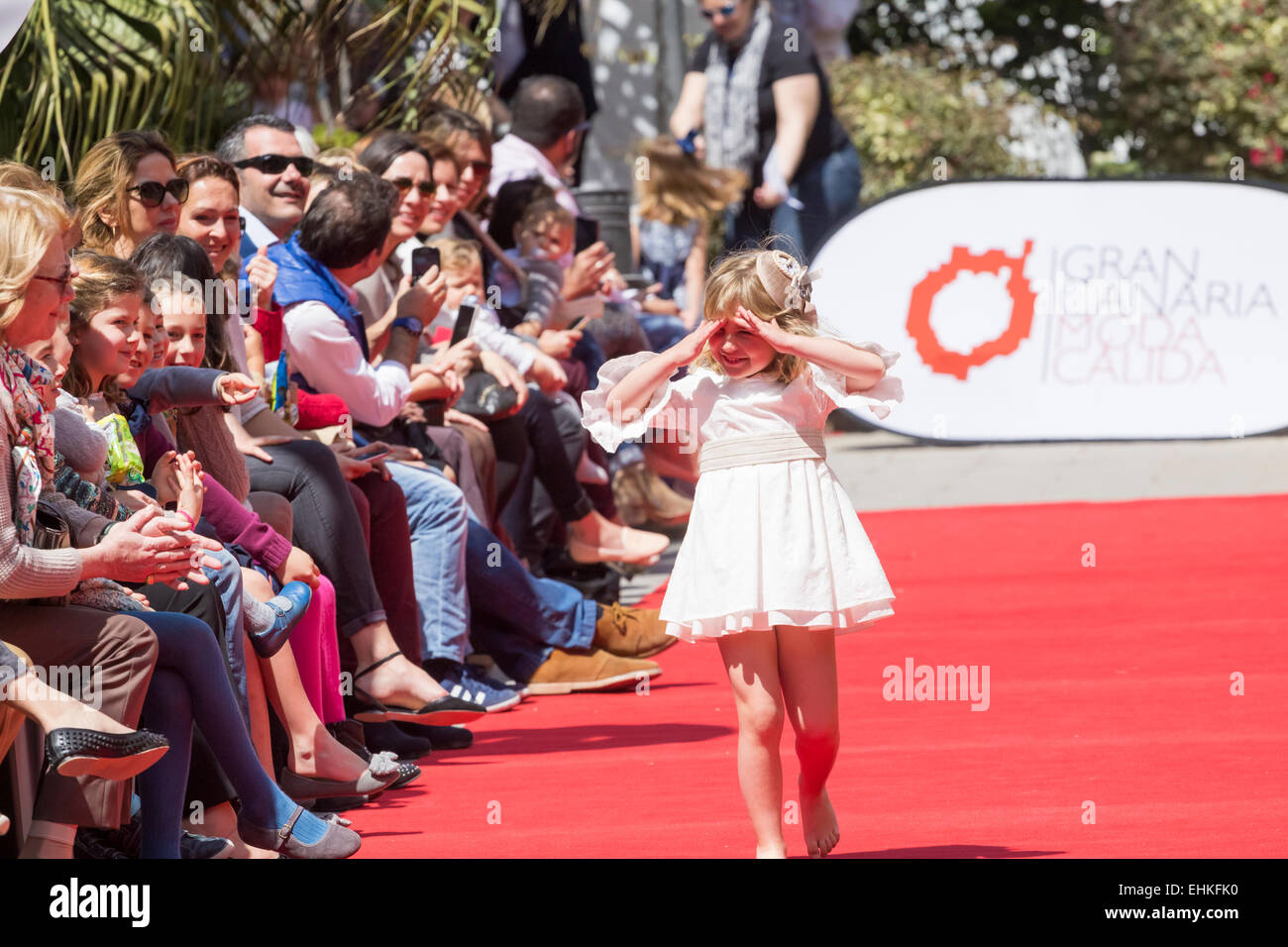 Young models modelling new range from 'It Child'on the catwalk at outdoor fashion show in Las palmas, Gran - Stock Image