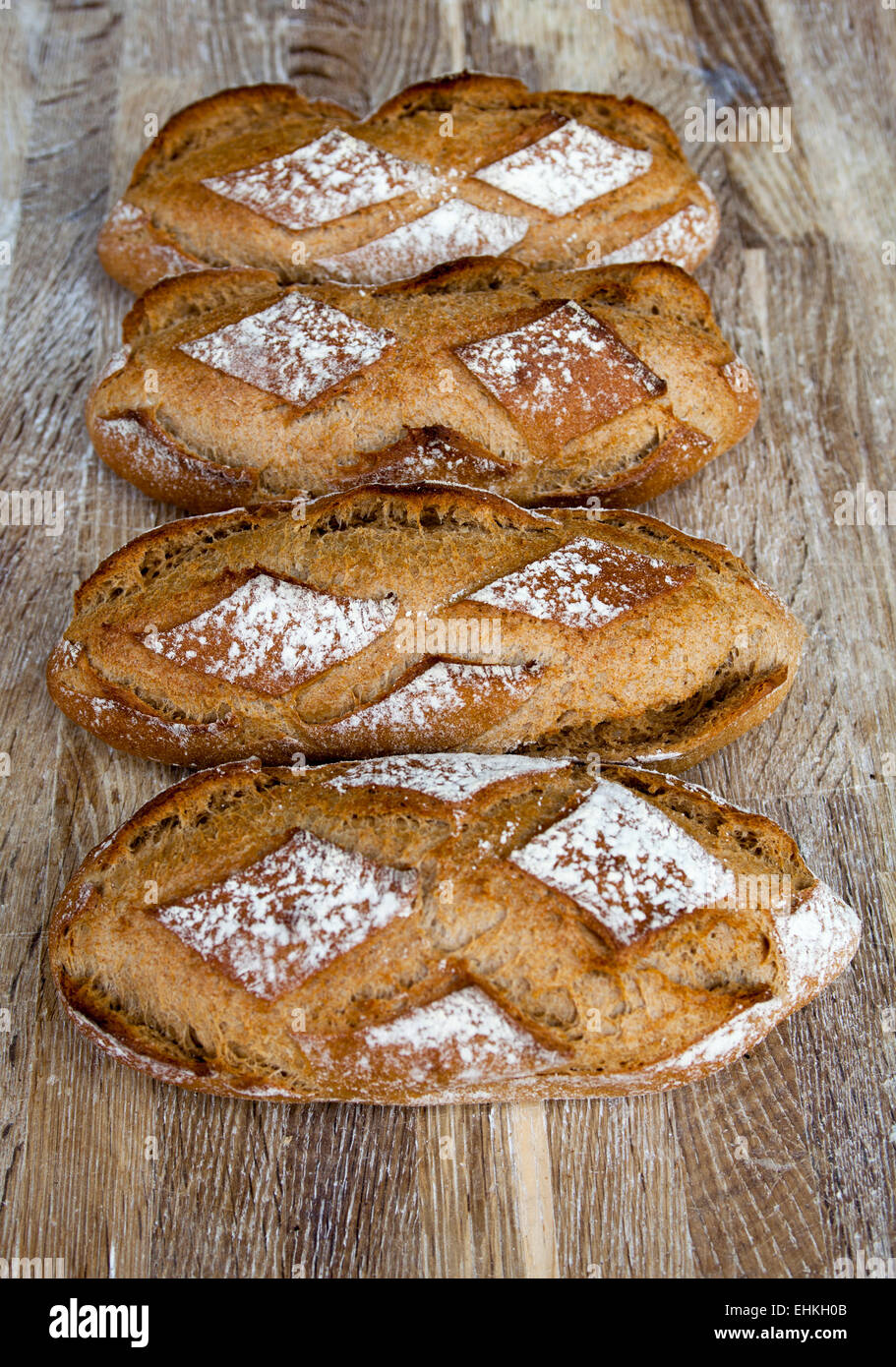 Loaves of Freshly Baked Sourdough Bread - Stock Image