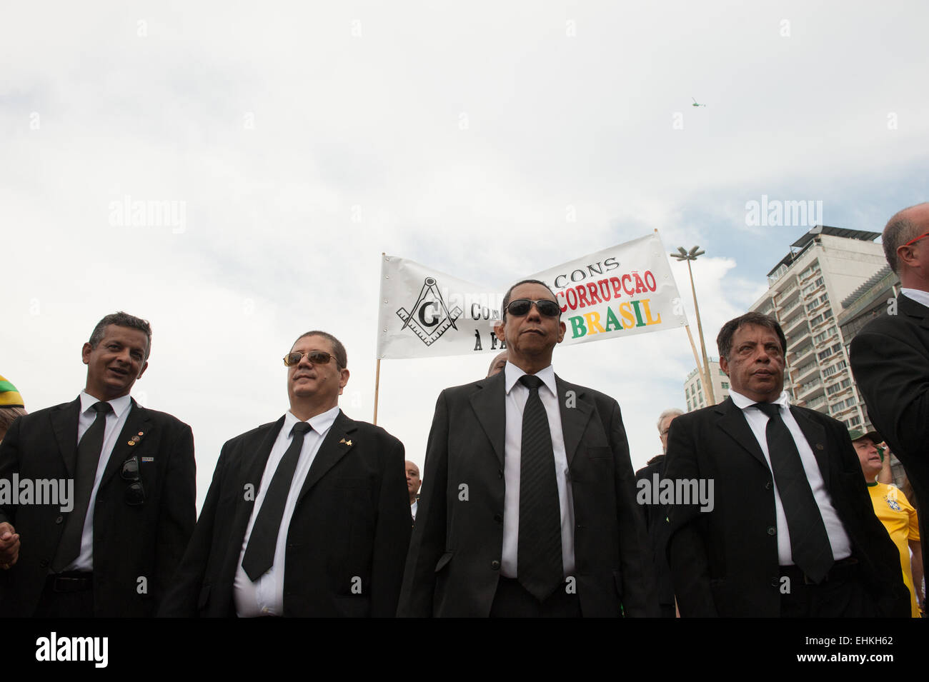 Freemasons from a local lodge march in protest against the corruption of the government of Dilma Rousseff. Rio de - Stock Image