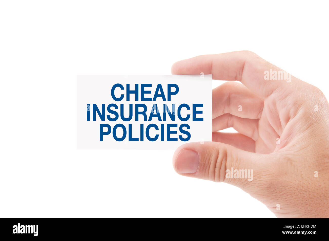 Insurance Agent Holding Business Card with Cheap Insurance Policies Title, Isolated on White Background. - Stock Image