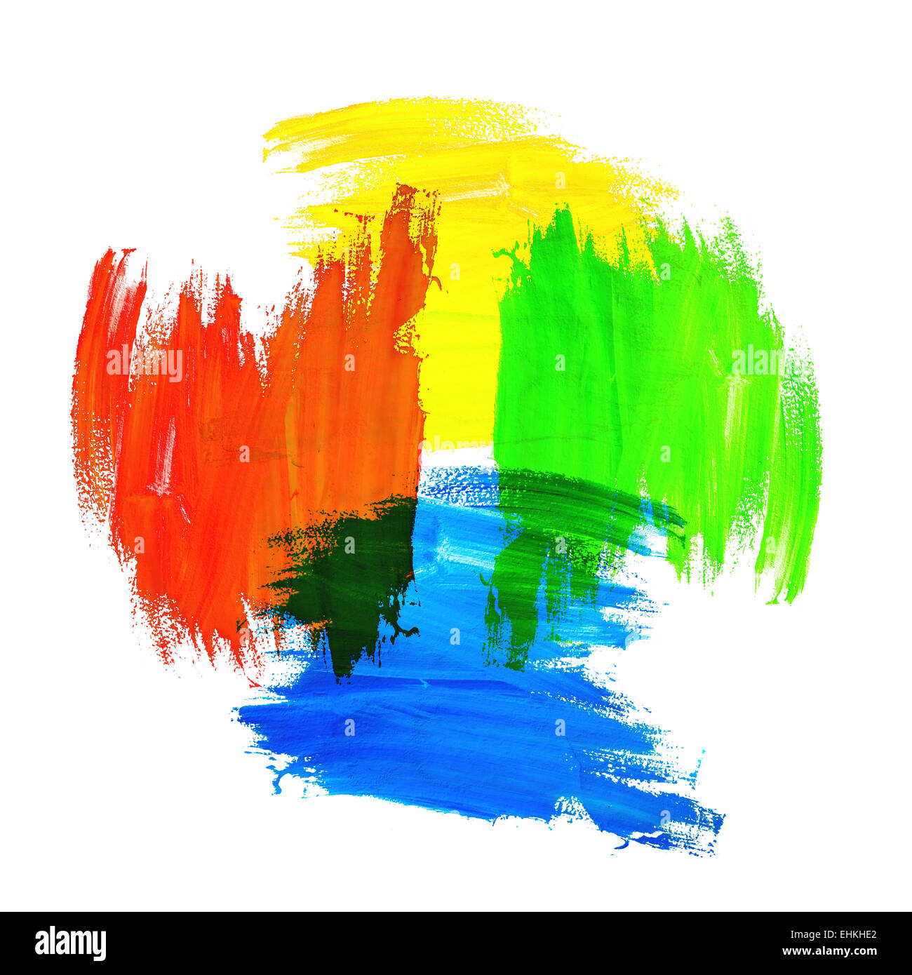grunge brush strokes of yellow green blue and red paint on white stock photo 79721434 alamy. Black Bedroom Furniture Sets. Home Design Ideas