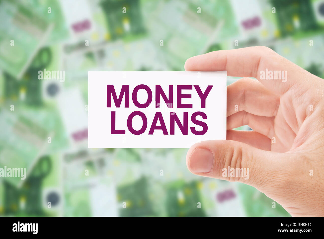 Man Holding Business Card with Money Loan Title, Euro Banknotes Pile ...