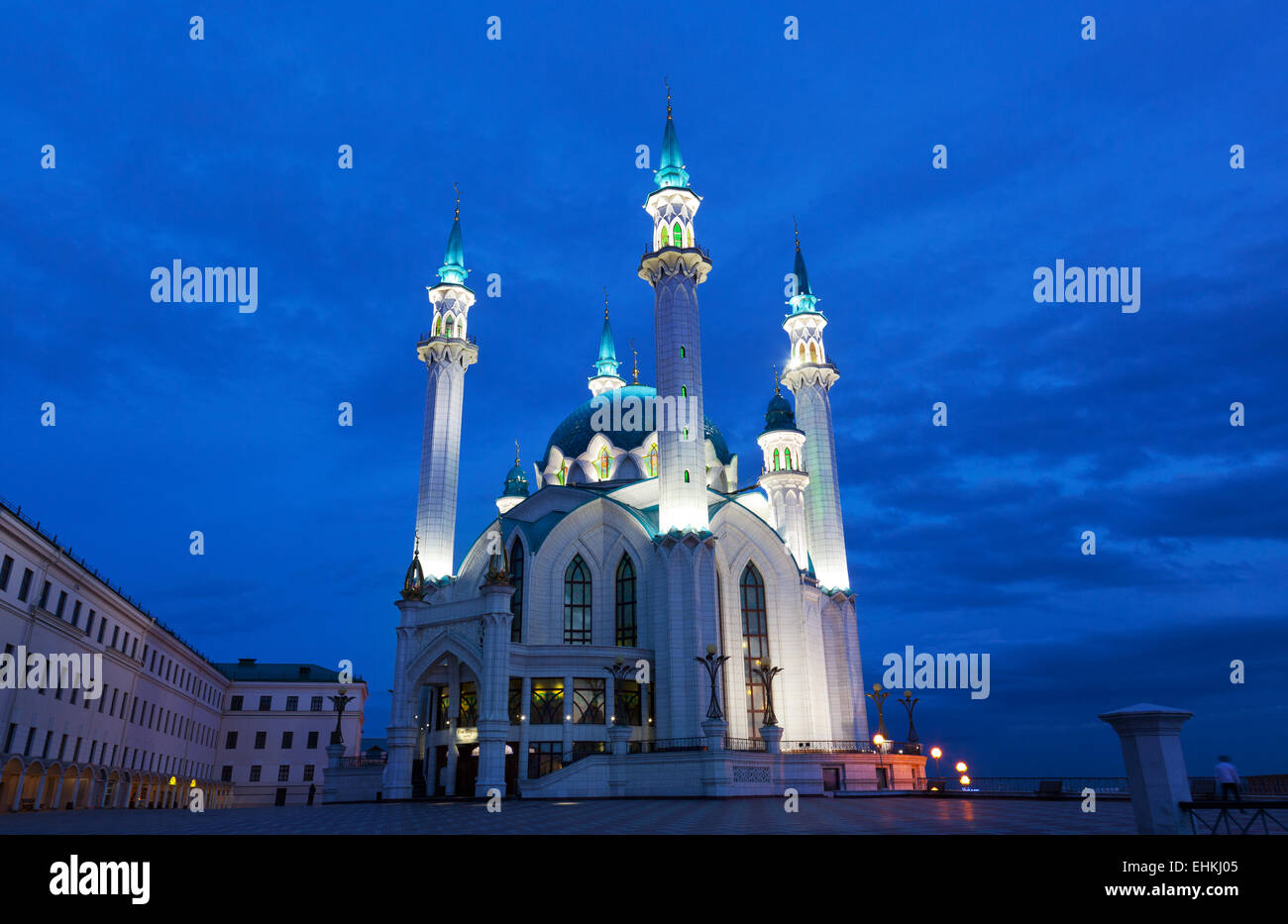 View of the mosque Qol Sharif in Kazan at night - Stock Image