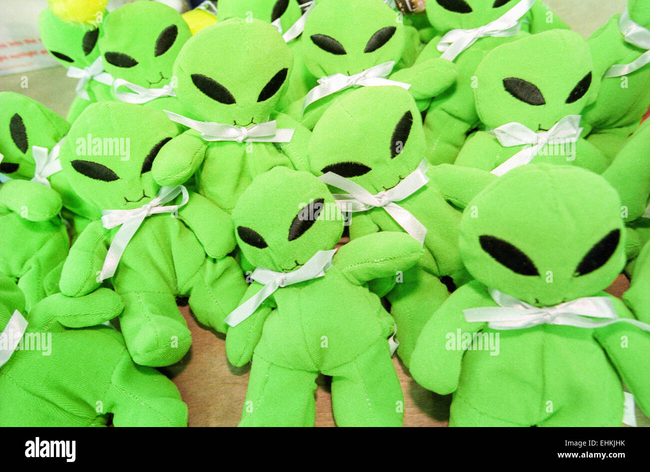 LAS VEGAS, NV – MARCH 15: Alien merchandise at X-Files convention in Las Vegas, Nevada on March 15, 1998. Stock Photo