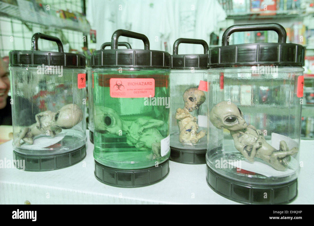 LAS VEGAS, NV – MARCH 15: Alien merchandise at X-Files convention in Las Vegas, Nevada on March 15, 1998. - Stock Image