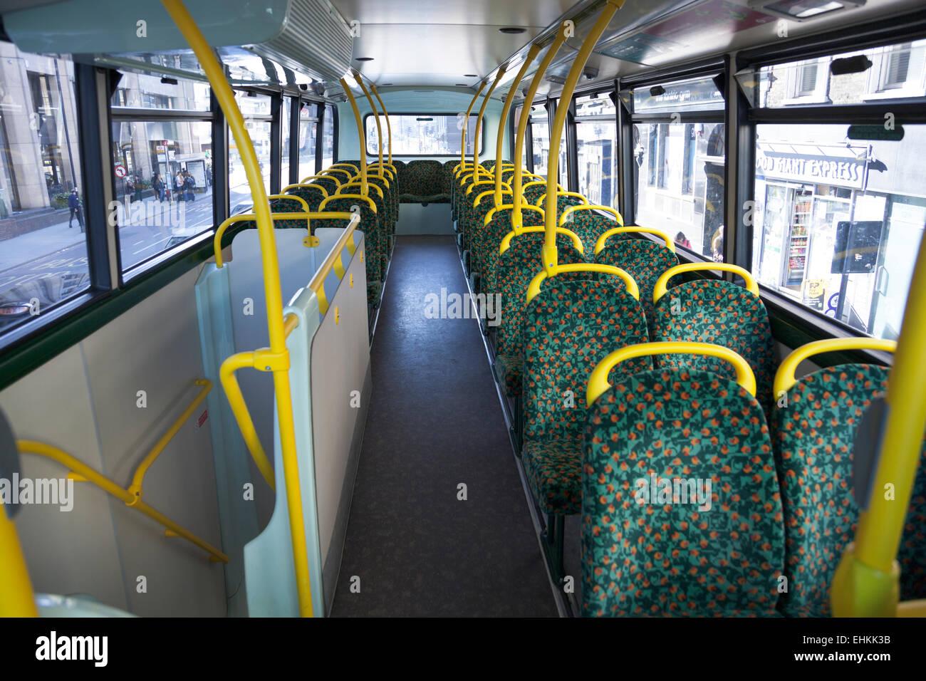 Empty interior of a London bus Stock Photo