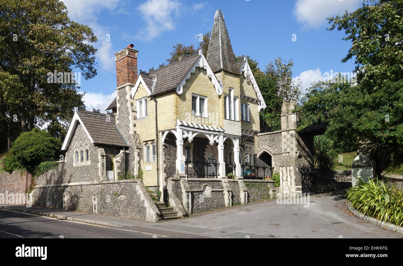Gothic Listed Lodge was the Birthplace of the Cricket Commentator John Arlott - Stock Image