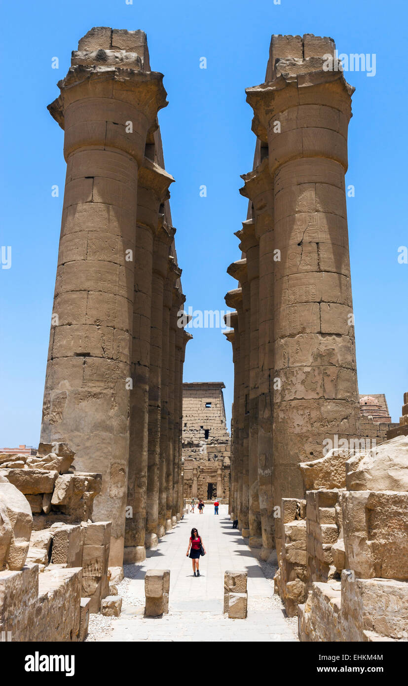 Colonnade of Amenophis III, Luxor Temple, Luxor, Nile Valley, Egypt - Stock Image
