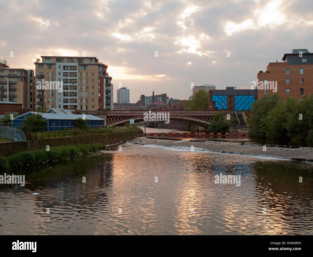 View of central Leeds from Crown Point Bridge and the River Aire - Stock Image