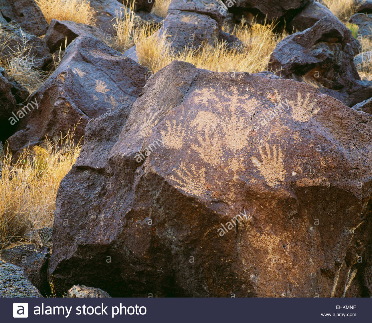 Human hand print style petroglyphs.  @ A.D. 1300-1650.  Piedras Marcadas Unit.  Petroglyph National Monument, New - Stock Image