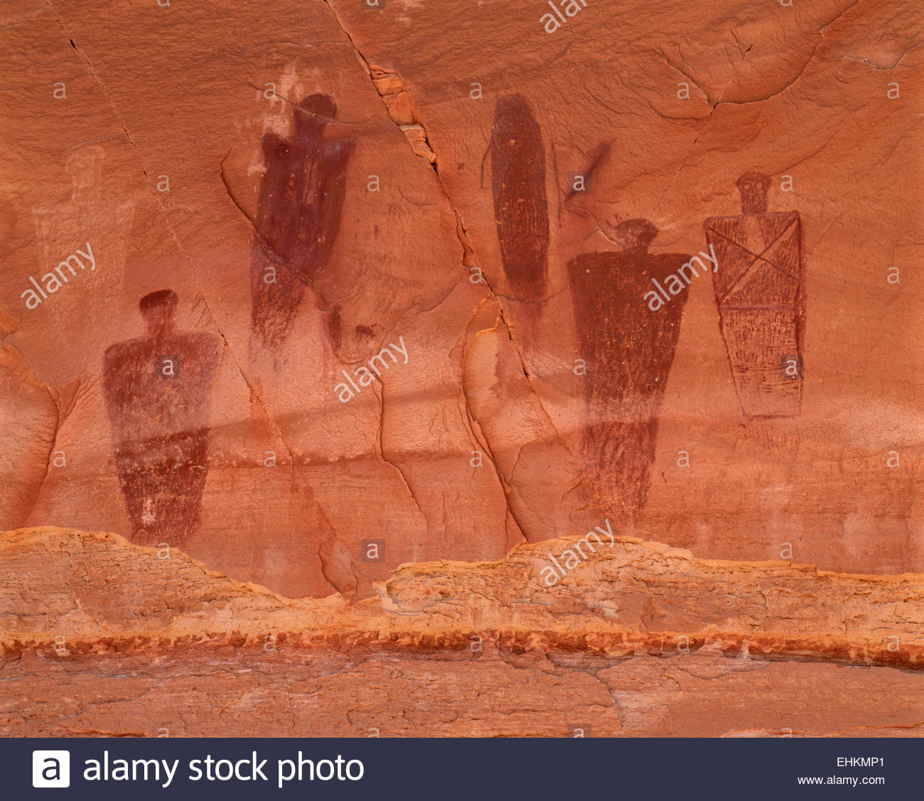 The Great Gallery pictograph panel, Horseshoe Canyon, Barrier Canyon style.  Canyonlands National Park, Utah. - Stock Image