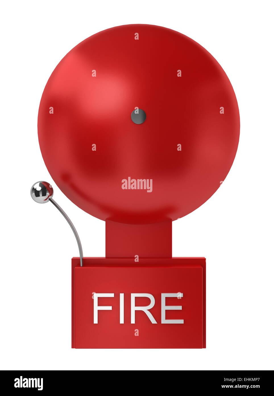 Fire alarm. 3d illustration on white background - Stock Image