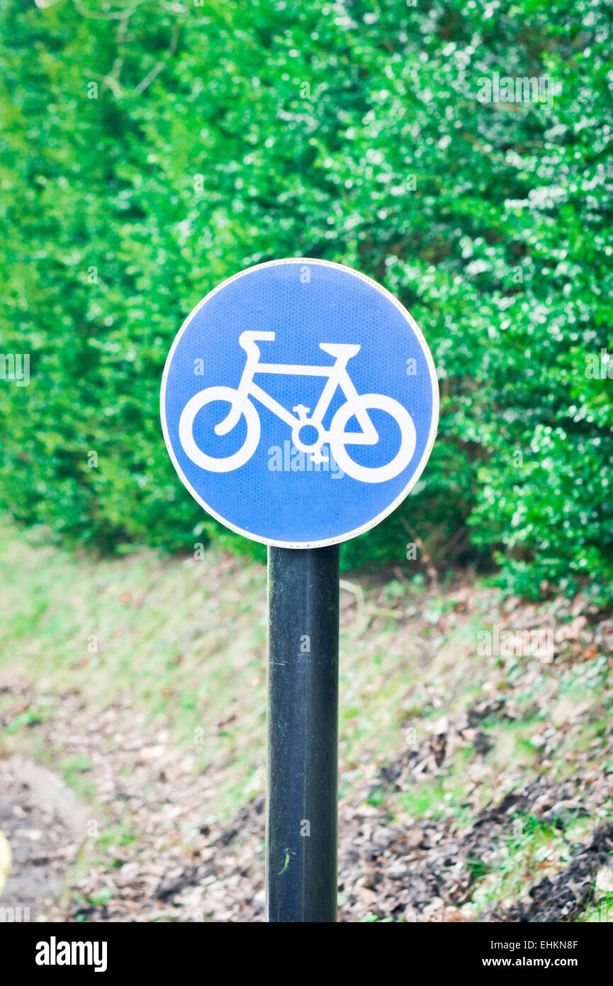 Sign for a cycle route on a rural road - Stock Image