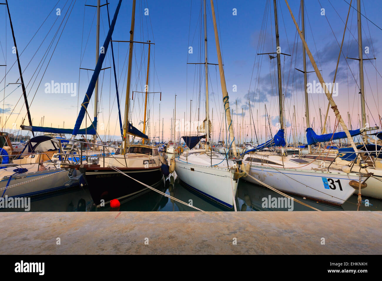 Sail boats in Kallithea in Athens, Greece - Stock Image