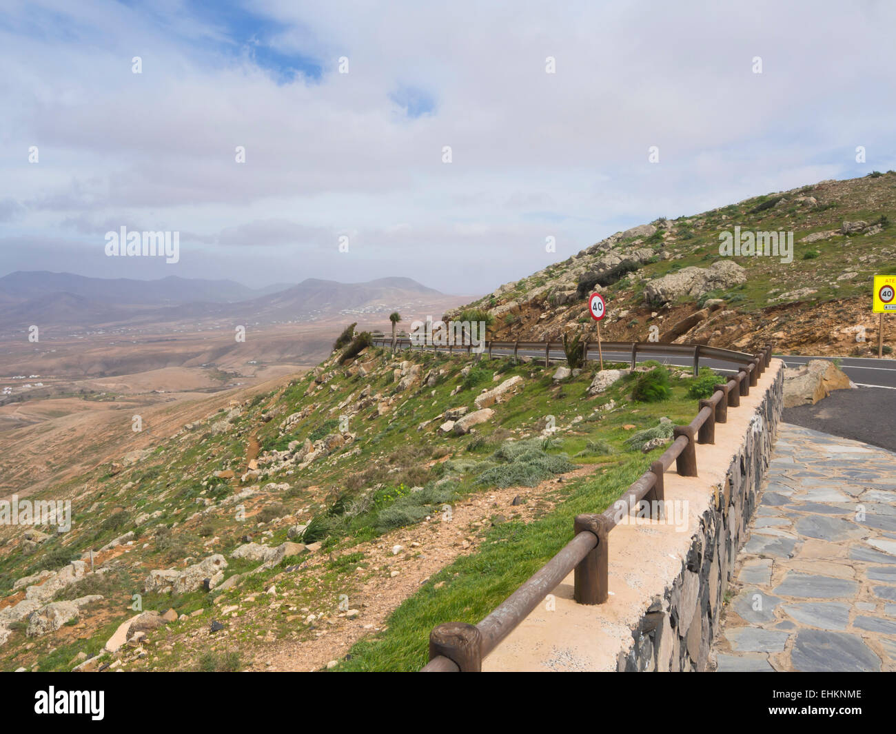 Panorama view of the inland hills of Fuerteventura, Canary Islands Spain arid and dry with just enough plants for - Stock Image