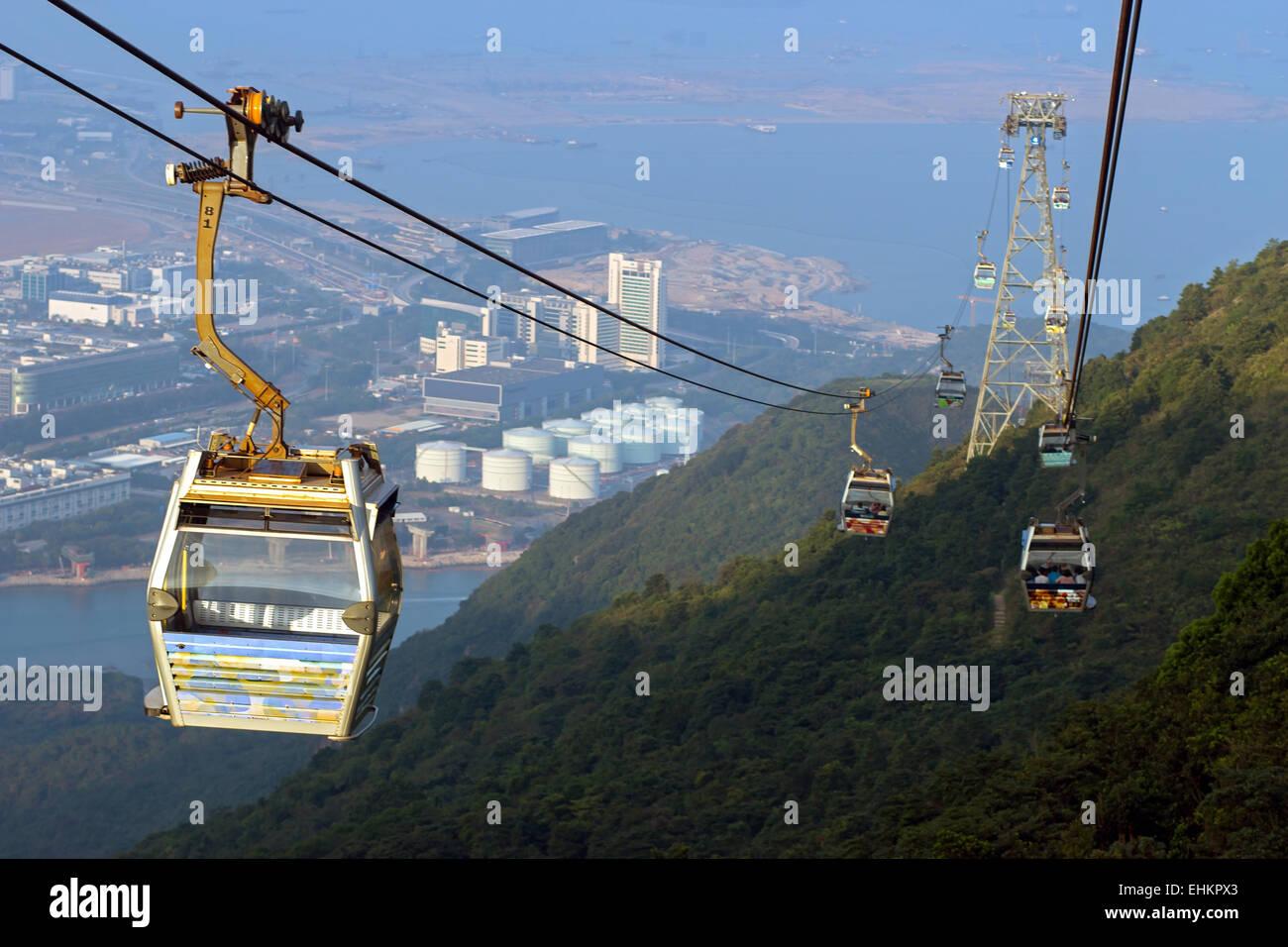 cableway over The Lantau Island - Stock Image