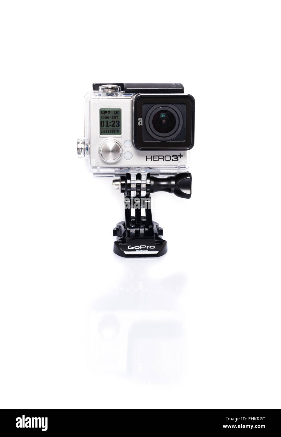 Ostfildern, Germany - March 7, 2015: GoPro HERO3+ Black Edition with shadow and reflection on white background on - Stock Image