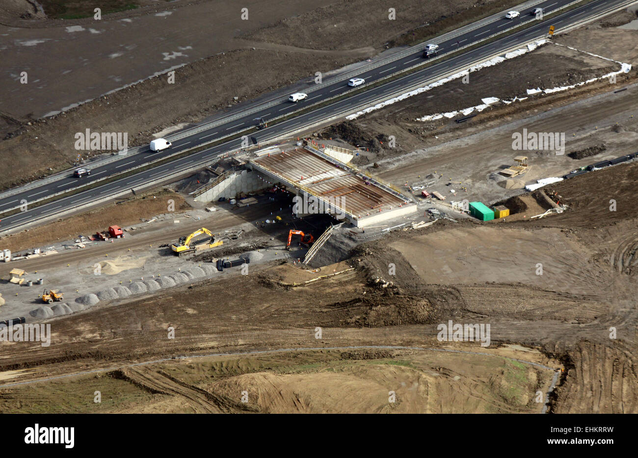 aerial view of A1 motorway construction road works in Yorkshire, UK