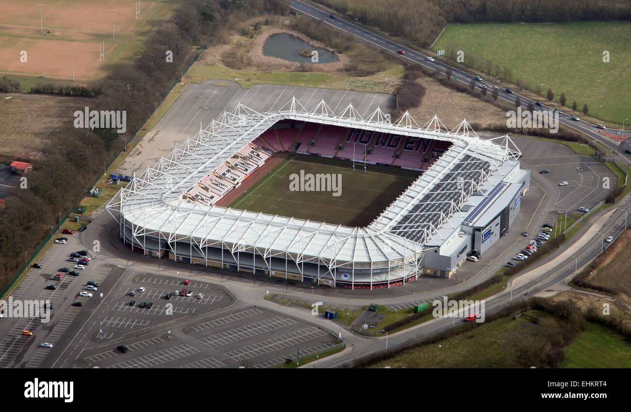 aerial view of Darlington Arena or Northern Echo Darlington Arena, UK - Stock Image