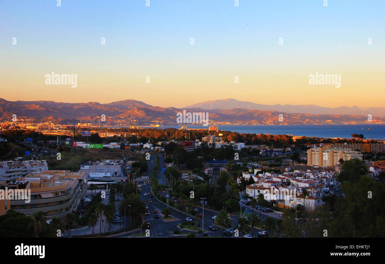 Sunset across Torremolinos, Spain, Malaga, Mediterranean Sea, Andalucia - Stock Image