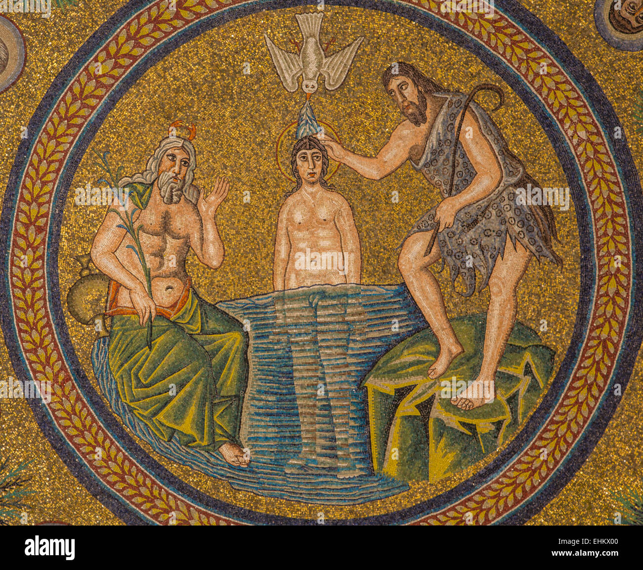 mosaic of the baptism of Jesus by Saint John the Baptist, Arian Baptistry, Ravenna, Italy - Stock Image