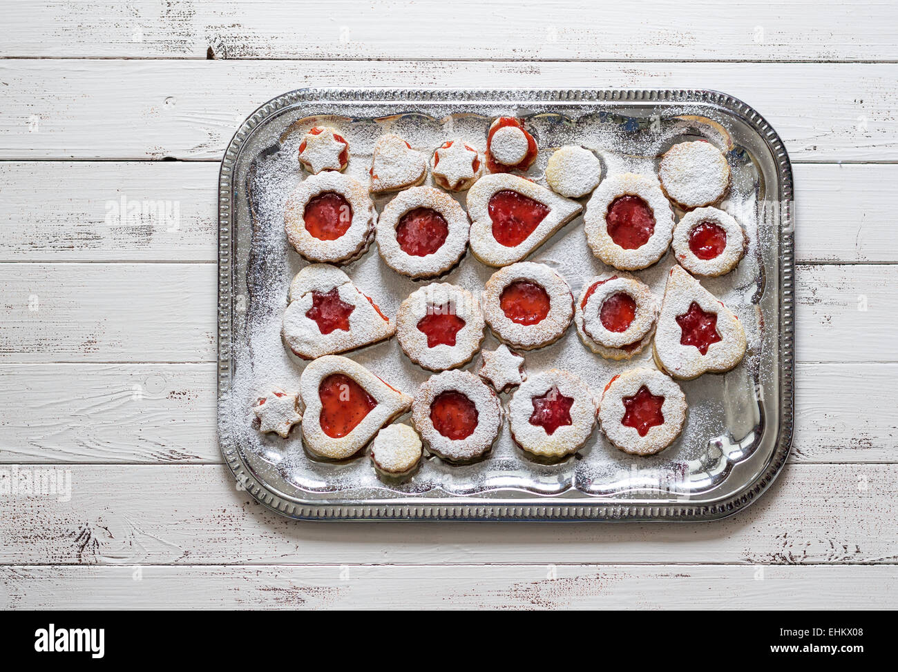 Christmas Cookies With Strawberry Jam On A Silver Platter Stock