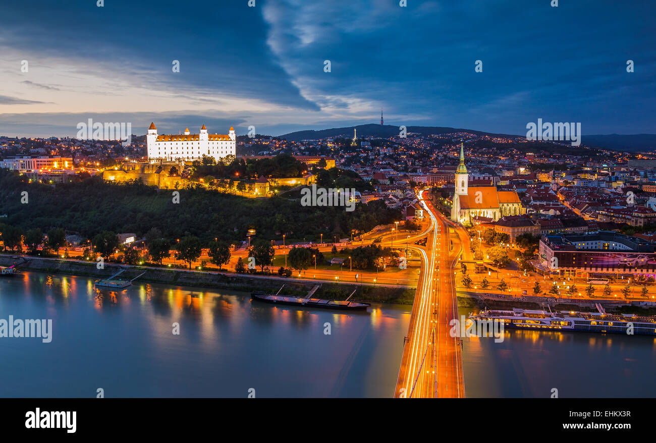 Bratislava, Slovakia - Panoramic View with the Castle and Old Town as Seen from Observation Deck the Bridge - Stock Image