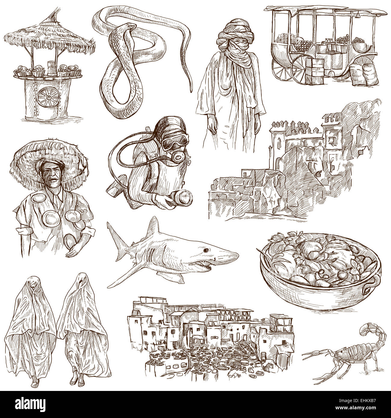 Travel series: MOROCCO - Collection of an hand drawn illustrations. Description: Full sized hand drawn illustrations, - Stock Image
