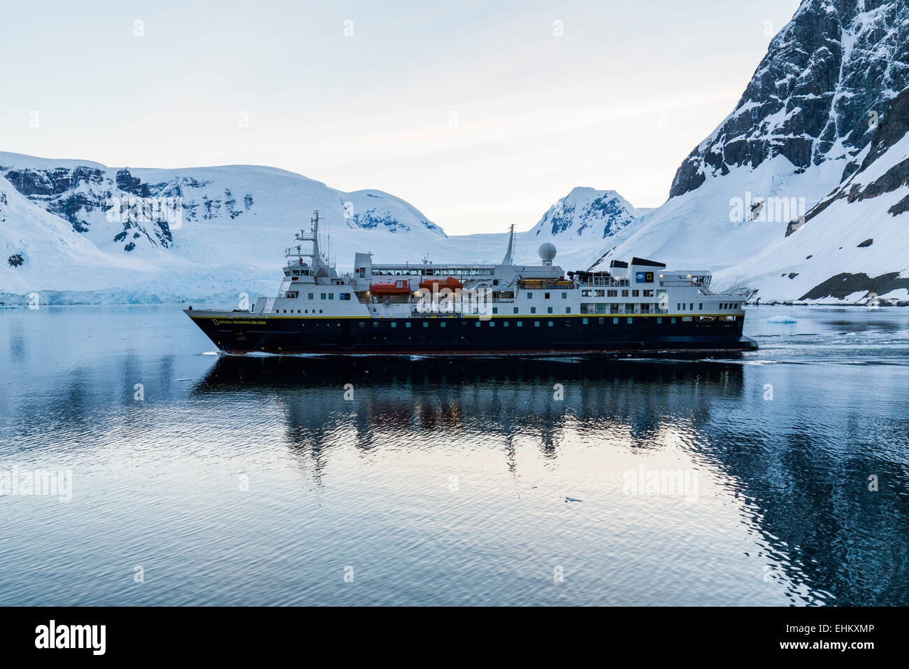 National Geographic Explorer cruise ship, Lemaire Passage, Antarctica - Stock Image