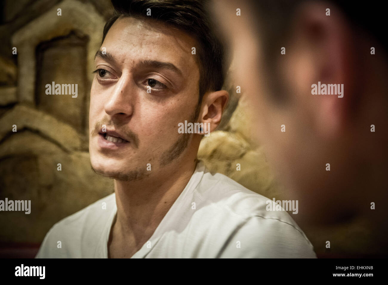 Mesut Özil, German footballer and Arsenal player gives an interview Stock Photo