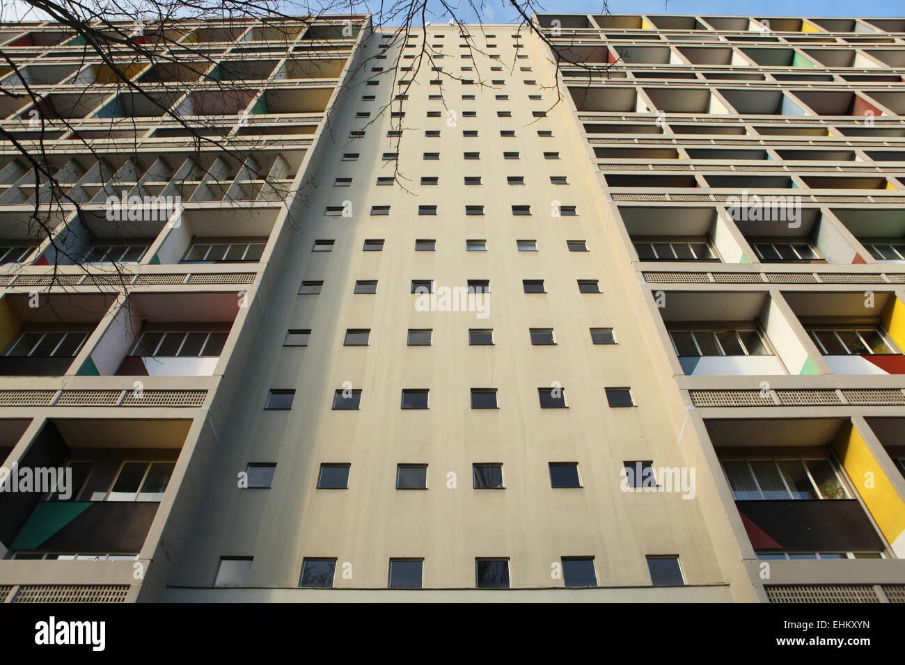 Modernist residential building Unité d'Habitation designed by architect Le Corbusier (1957) in Berlin, - Stock Image
