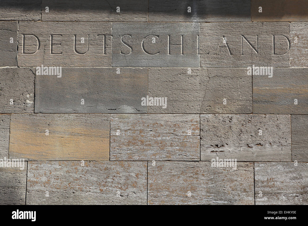 Deutschland (Germany). Word carved into the stone blocks. - Stock Image