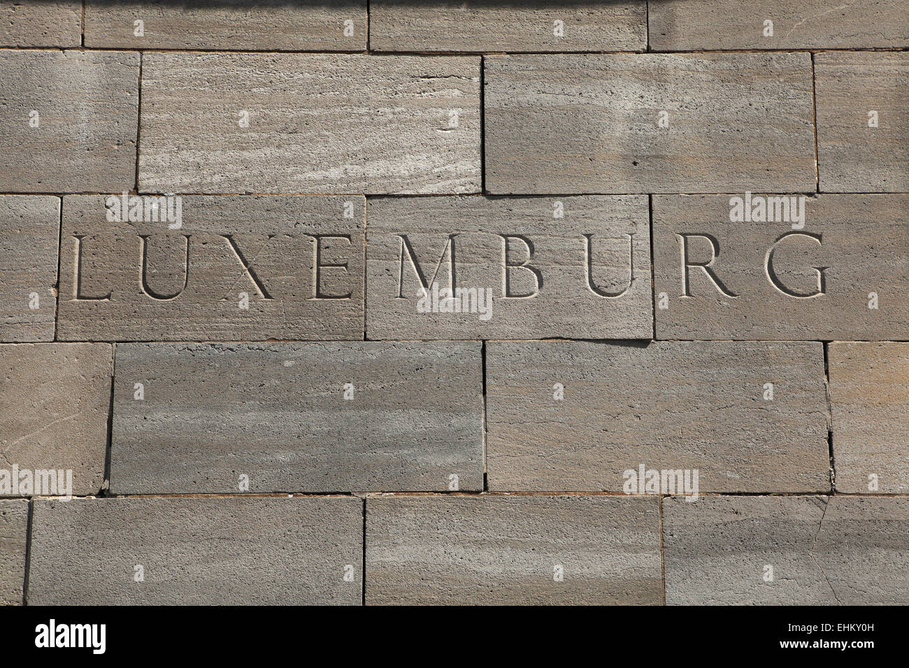 Luxemburg. Word carved into the stone blocks. - Stock Image