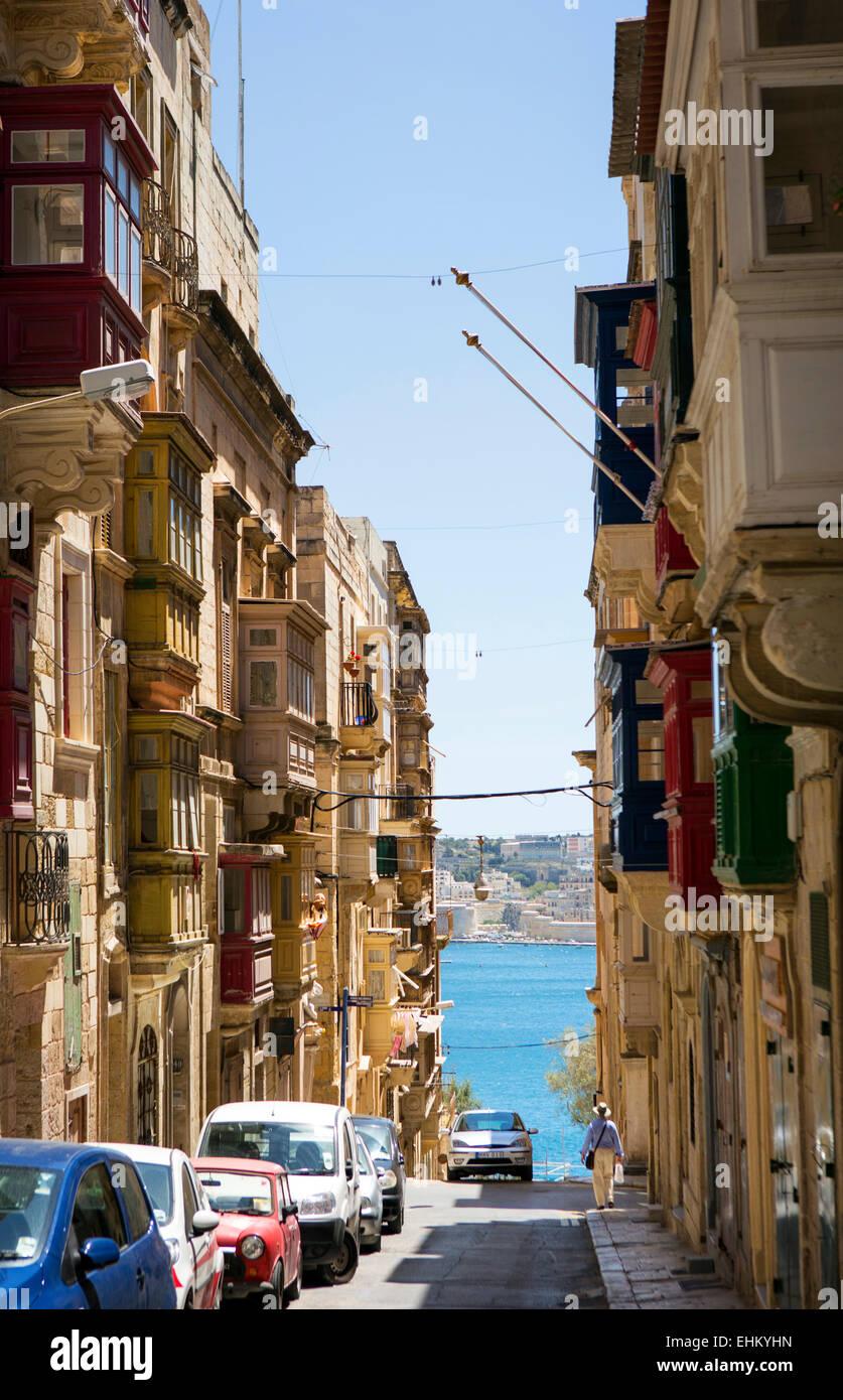 Malta, Valletta street scene - Stock Image