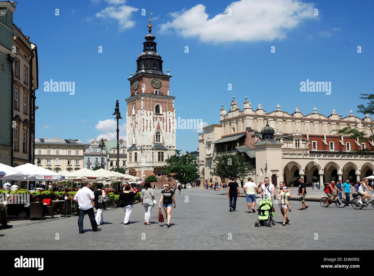 Main Square of Krakow in Poland with Town Hall Tower and Cloth Halls. - Stock Image