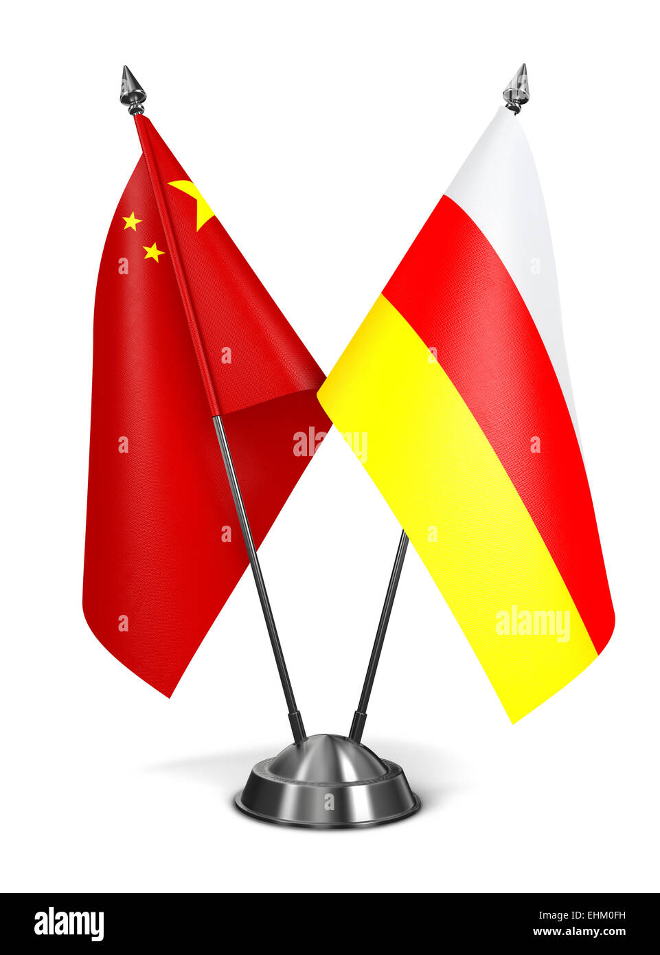 China and South Ossetia - Miniature Flags. - Stock Image