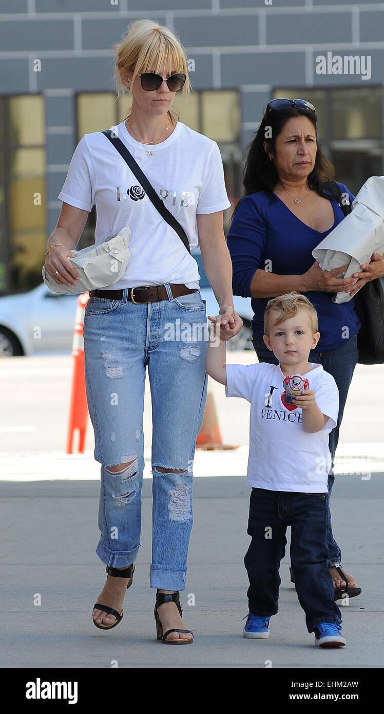 January Jones and son Xander out and about in Los Angeles ... January Jones Son Images