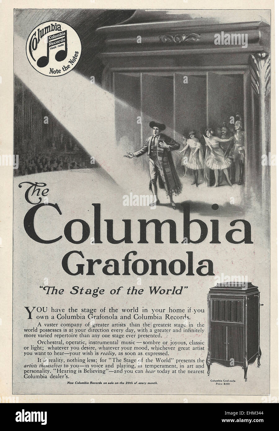 The Columbia Grafonola - Advertisement 1916 - Stock Image