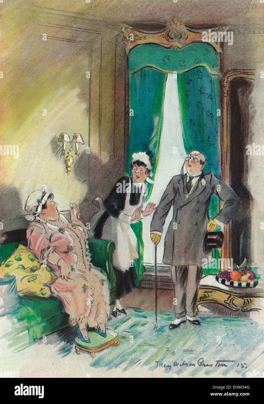 Besides, it's Wagner, and one is never to fat for Wagner  -  Parlor Discussion - May Wilson Preston 1915 - Stock Image