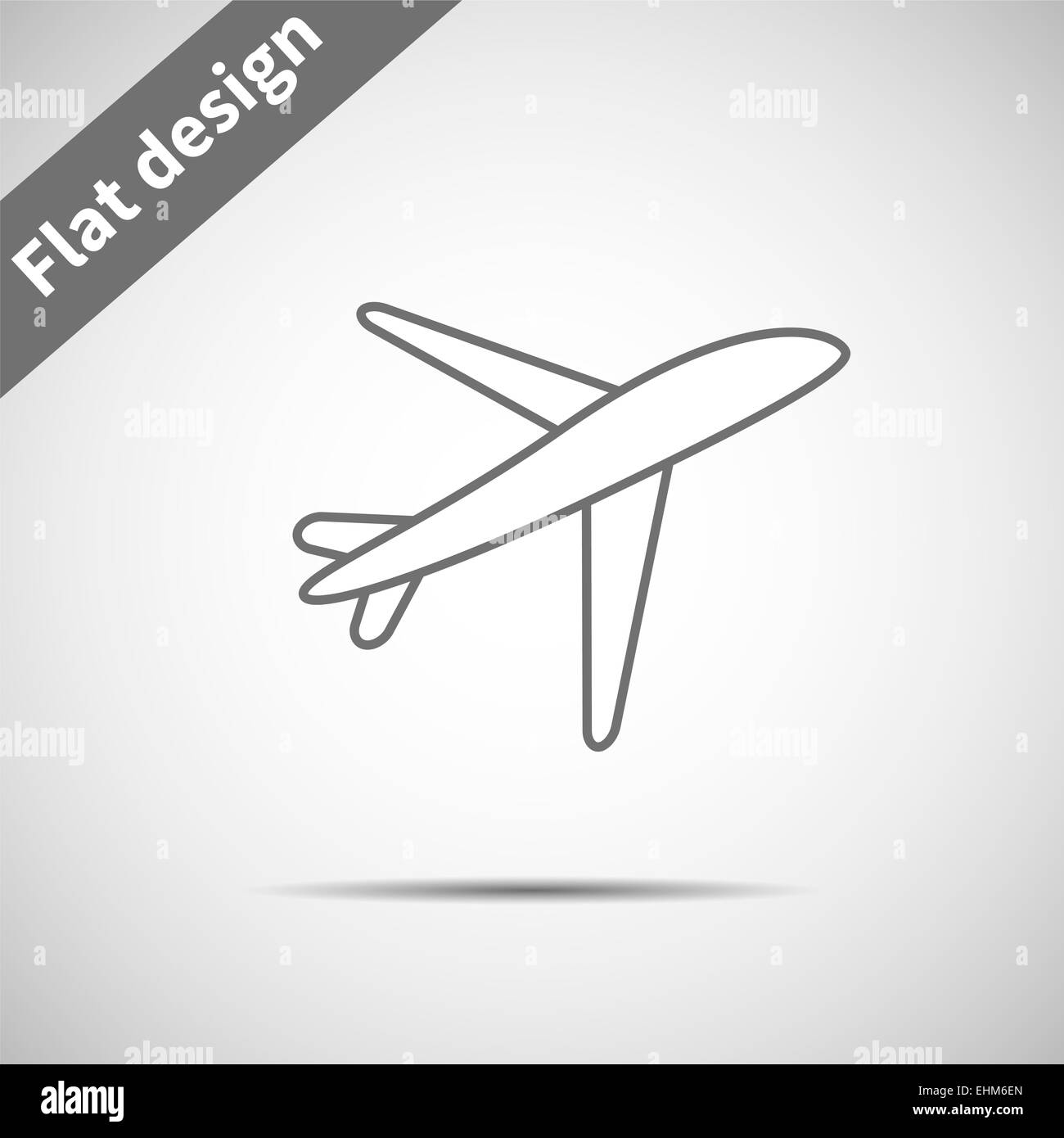 Airplane symbol. Icon gray plane line. Use banner, card, poster, flyer, banner, application, web design. Easy to - Stock Image