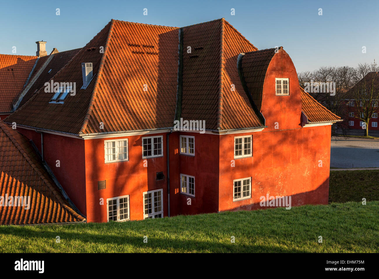 Historic barracks on the fortified island of Kastellet, Copenhagen, Denmark - Stock Image