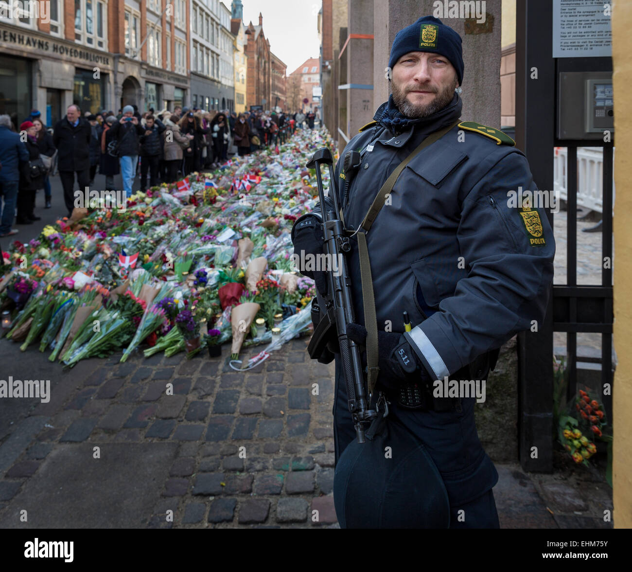 A policeman guarding the Jewish synagogue in Copenhagen after the terrorist attack in February 2015, Copenhagen, - Stock Image