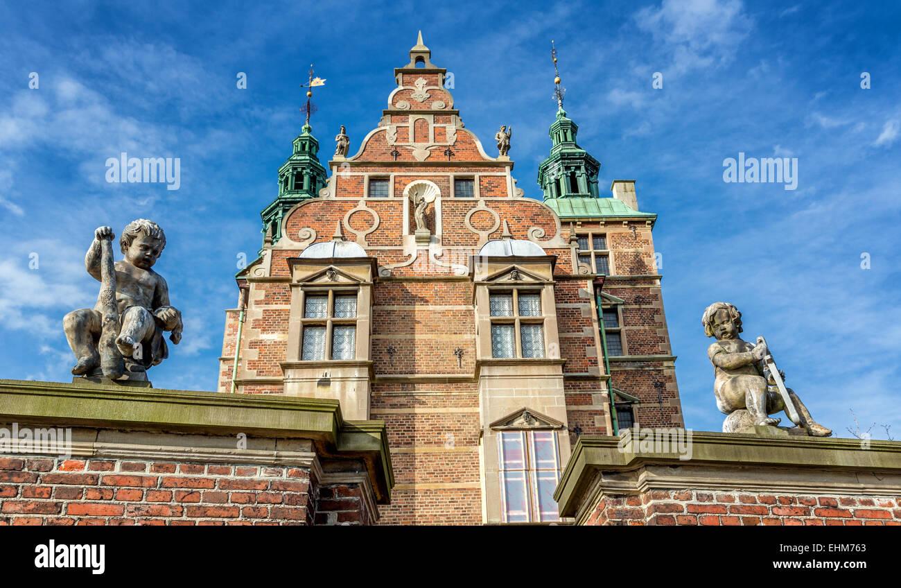 Rosenborg Palace in the Rosenborg gardens in Copenhagen, Denmark - Stock Image
