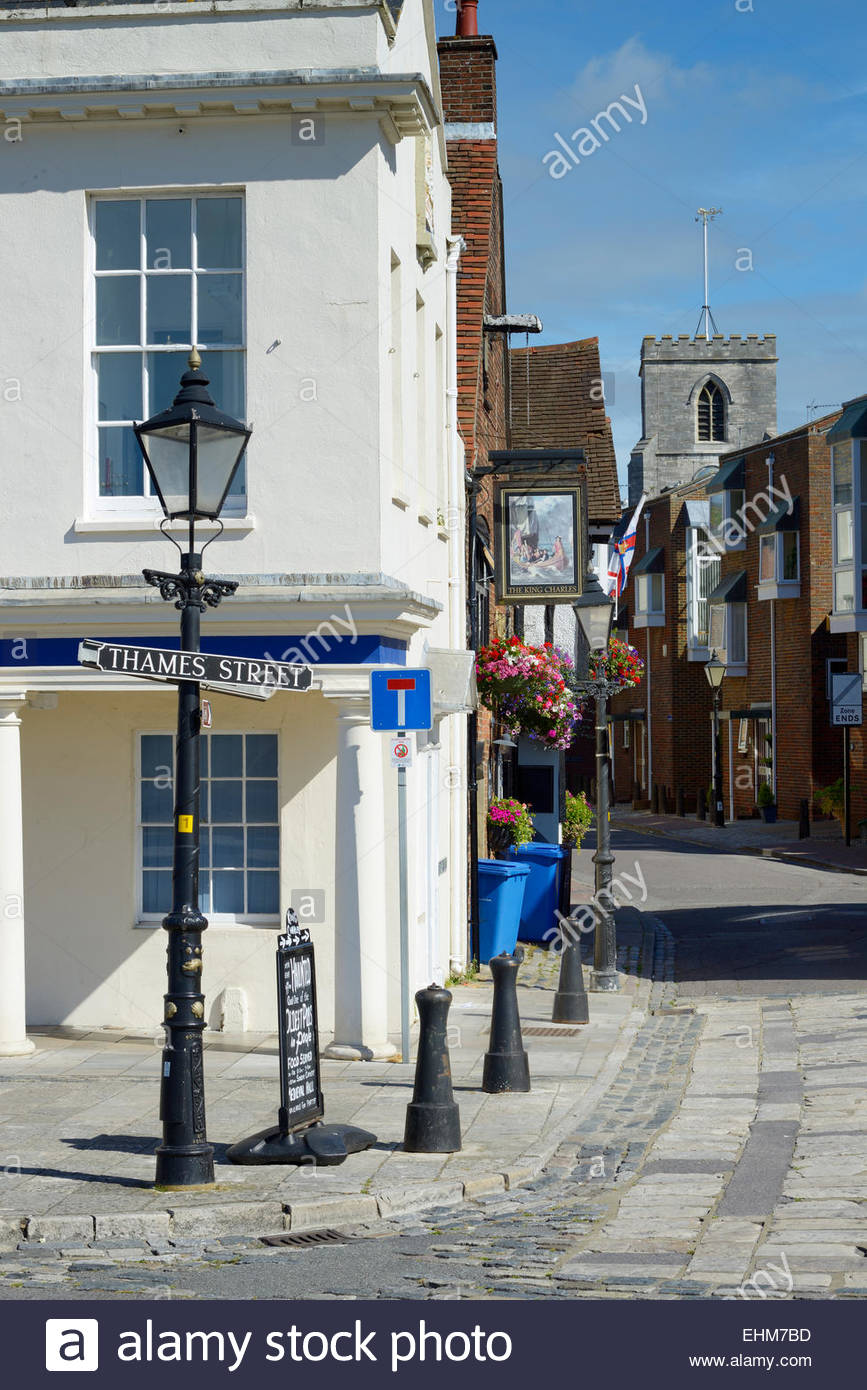 Thames Street view to St James's Church, Poole, Dorset, England UK - Stock Image